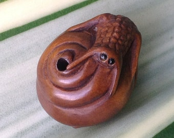 Hand Carved Boxwood Ojimi Bead - Snail