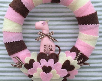 It's A Girl Wreath, Baby Girl Wreath, Pink Baby Girl Wreath, Gender Reveal Wreath, Girl Nursery Wreath, Baby Shower Wreath,