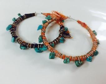 Fabric wrapped hoop earrings, hoop earrings, boho earrings, trending, beaded earrings,