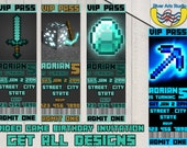 GET ALL DESIGNS-Video Game Birthday Invitation Tickets - Stickers - Digital Files - Printable - Birthday Invitation