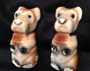 Vintage Chalk Ware Scottie Dog salt & pepper shakers