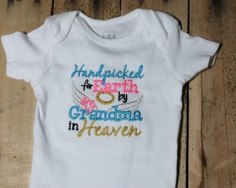 Embroidered Bodysuit Handpicked for Earth by my Grandma in Heaven Hand Picked Bodysuit Knotted Headband