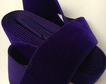 Vintage Dark Purple Velvet Ribbon, Vintage Velvet Trim