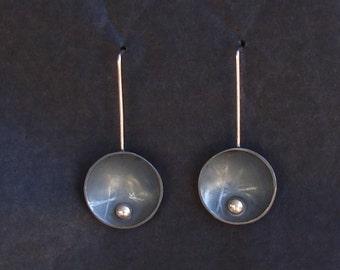 Unique handmade oxidized silver earrings,austere  earrings, dangle earrings, geometrical earrings, round earrings