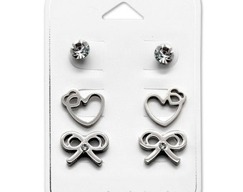 Surgical Steel Heart and Bow Ear Stud Set