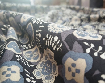 Liberty Poplin Cotton Dressmaking Fabric - Takashi Matsubara (D) - Woodblock Floral Print in Black, Grey and Beige