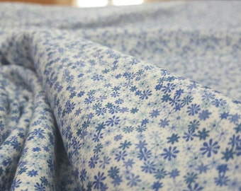 Liberty Cotton Jersey Knit Fabric - Rania (A) - Small Floral Print in Blue on White