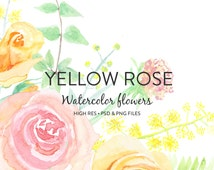 Watercolor Flowers - Hand painted Yellow and Salmon Rose Watercolor Flower Clipart