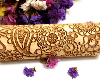 Embossing Rolling Pin, FLOWERS FLORAL PAISLEY Pattern, Laser Engraved Rolling Pin, Embossed Dough Roller, Christmas Gift, Rolling Pin, 2