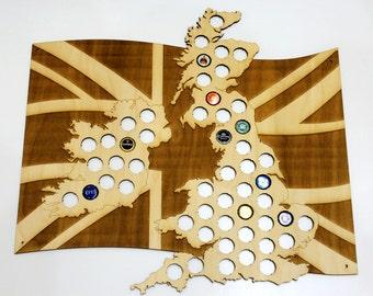 United Kingdom Beer Cap Map LASER ENGRAVED, Beer Bottle Cap Holder, Beer Cap Display, Beer Gift, Gift for Him, Groomsmen gift, Father's Day