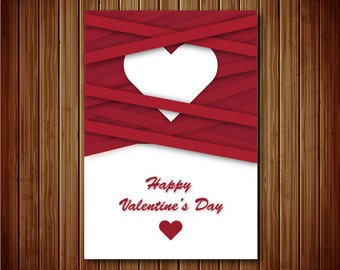 Printable Romantic Valentine's Card - 5 x 7 Red Striped Heart Card Instant Download