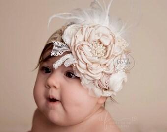 baby girl headband, girl headband, couture headband, ivory headband, infant headband, fancy headband, lace headband, vintage headband