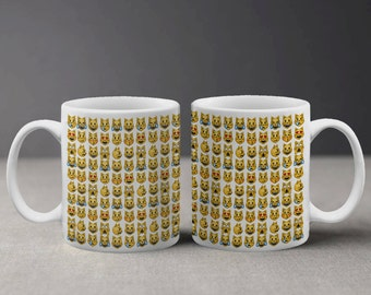 Funny Cool Emoji Cats Pattern Mug M040