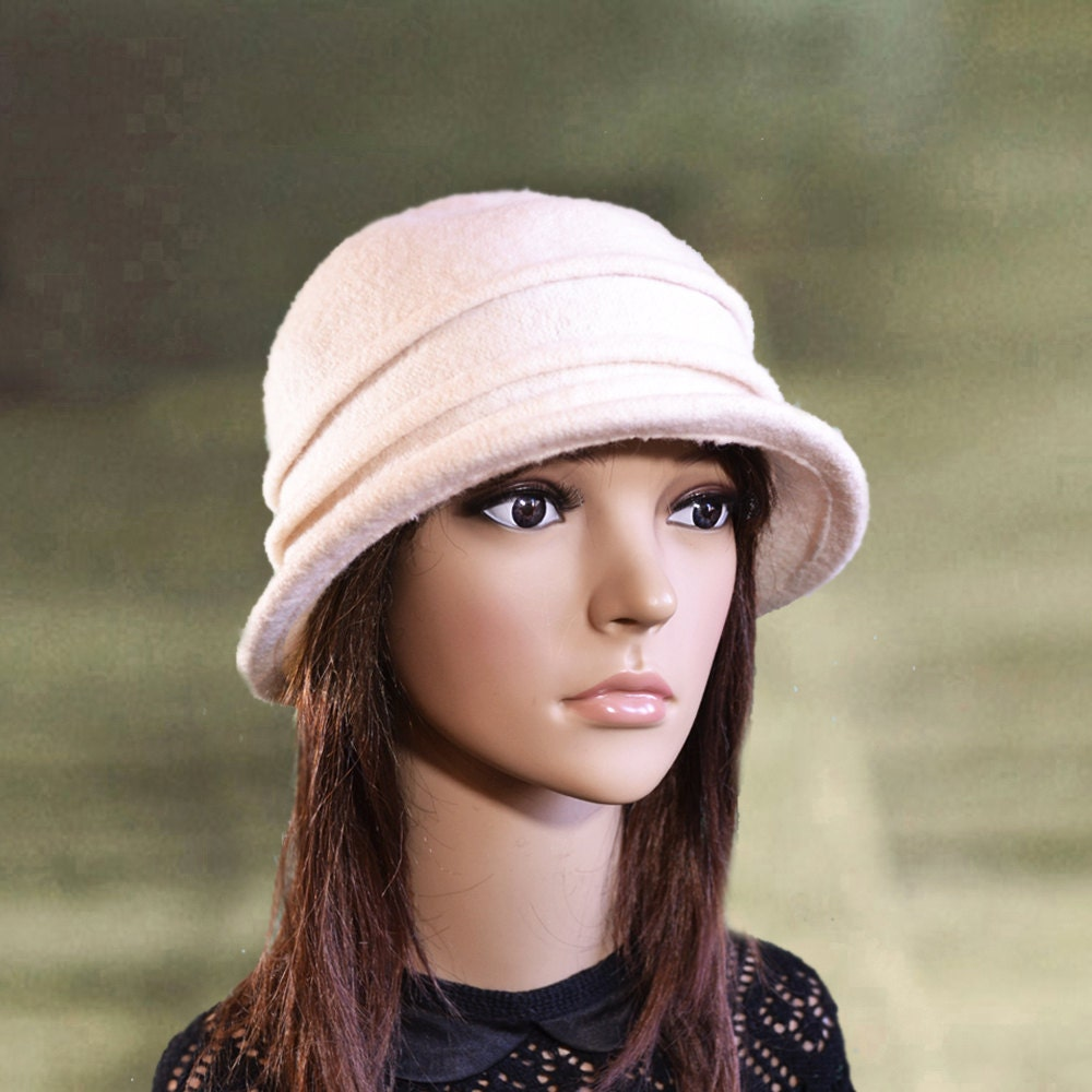 White cloche hats Womens felt hats Felt wool hats Ladies