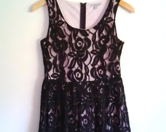 Vintage Dress Black Lace Pink Lining Charlotte Russe Like New/Very Gently Worn Size Small