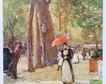 """Rare Vintage Print: """"Fifth Avenue at Washington Square"""" c. 1891 by American Artist Childe Hassam"""