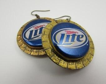 Miller Lite Bottle Cap Earrings