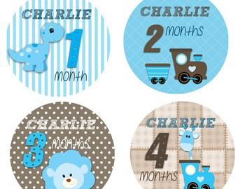 Personalised Baby milestone stickers,baby monthly stickers Age Milestone stickers Trains Monthly growth stickers,babygrow onesie, vest