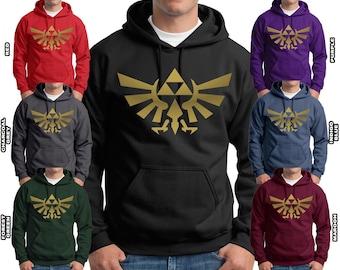 Zelda Triforce Hoodie Metallic Gold Print Sweatshirts Adult & Youth Hoodies