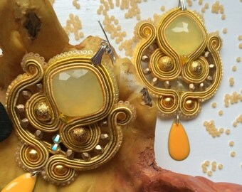 Handmade yellow soutache earrings