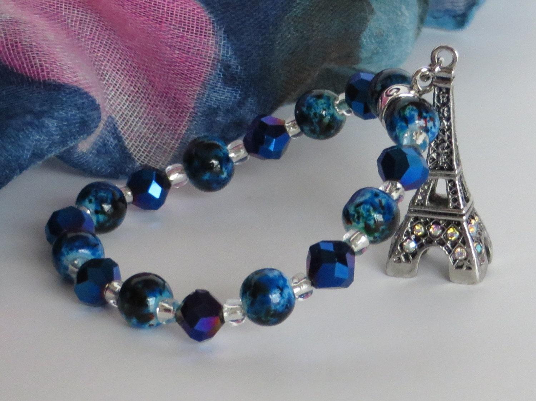 eiffel tower bracelet blue bead bracelet eiffel tower