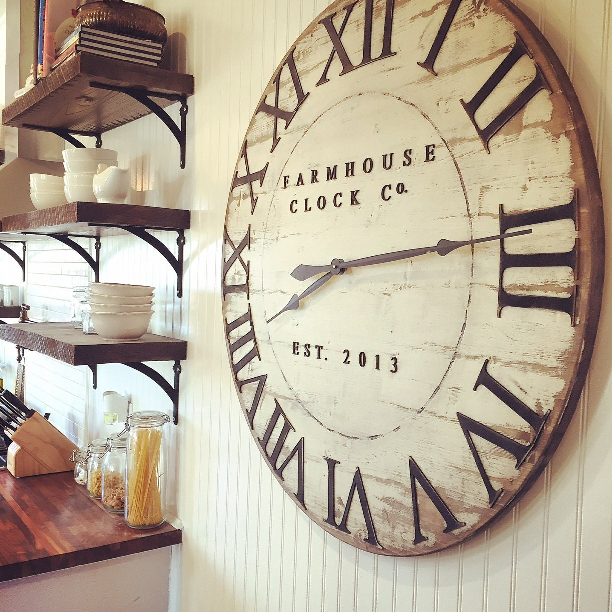 Farmhouse clock co distressed large round wooden wall clock request a custom order and have something made just for you amipublicfo Image collections