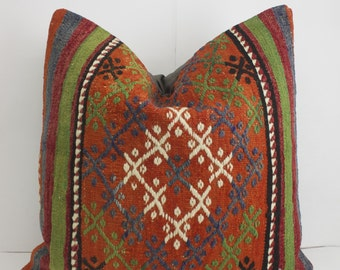 20X20 Bohemian Floor Pillow Cover Orange Floor Cushions Bohemian Pillow Cover Throw Pillow Covers Decorative Pillows For Couch Boho Pillow