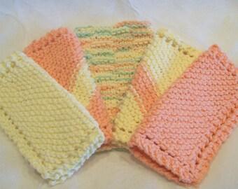 Sherbet set of knitted kitchen dishcloths