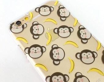 Monkey Banana clear iPhone 8 Plus case iPhone X case iPhone 7 case iPhone 6S case Samsung Galaxy Note 8 case Samsung Galaxy S7 edge case