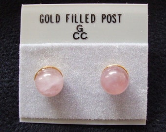 Beautiful pair of gold filled 6mm round Rose Quartz earrings on posts for pierced ears