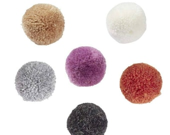 PomPom wool in rich dark / grey colors - 6 pieces in different colors