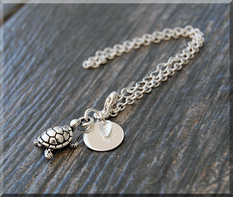 silver turtle bracelet initial charm bracelet personalized