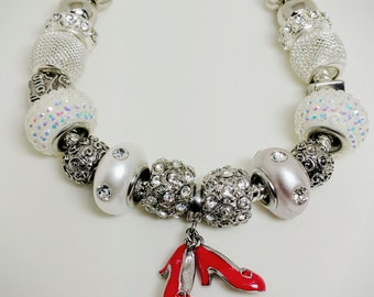 Beautiful Silver and White Red Stiletto Crystal Charm Bracelet