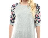 Shirt Casual Gray Floral-Sleeve Raglan Women Tee - Plus