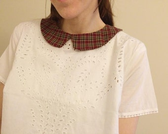 Dark Red Plaid Detachable Peter Pan  Collar