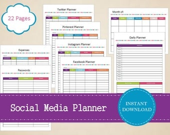 Social Media Planner - Social Media Kit - Organized Social Media - Printable and Editable - INSTANT PDF DOWNLOAD - 22 Pages