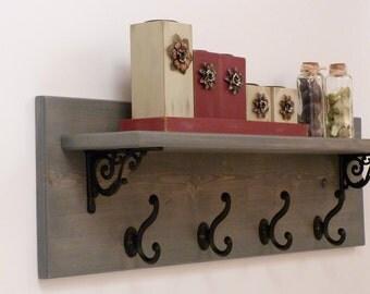 wrought iron shelves etsy. Black Bedroom Furniture Sets. Home Design Ideas