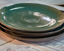 Turquoise plate, unique plate, serving plates,pottery plate,plates,plate, wheel thrown plates, pasta plates,dining plates, kitchen plates