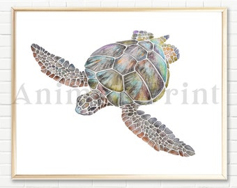 Sea Turtle Nursery Wall Art Turtle Art Print Turtle Painting Sea Ocean Nursery Beach Nautical Decor Sea Animals Watercolor Ocean Art Print