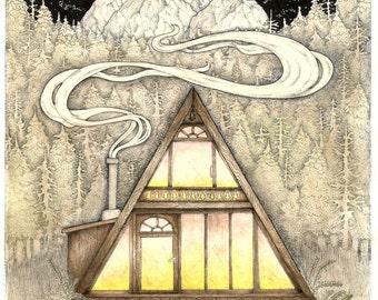 ORIGINAL - Forest Cabin Illustration - 8x10 Hipster Wall Art