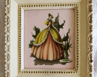 1950's Lady in a Dress Framed Wall Art Decor.