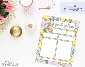 Planner Printables Undated Goal Planner Calendar To Do List Monthly Weekly Daily Goals Meal Planning Printable Stickers Watercolor Lemons