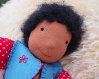 Black boy bunting Waldorf doll - African American - brown skin - Red with white spots