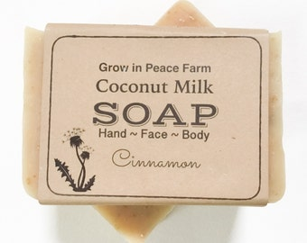 Coconut Milk & Oat  Cinnamon Soap - Homemade Soap, Vegan Milk Soap