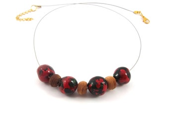 Red , green necklace,  hand-made pearls in clay , wooden brown pearls , brown cabled thread,hand-made .