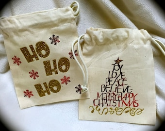 Christmas GIFT/Favor CANVAS Bags~Set of Two