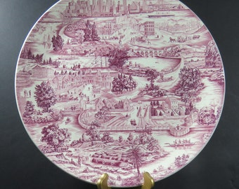 """Antique Wedgwood Etruria Mulberry England Historical Commemorative 14"""" Charger Plate """"History of New York"""""""