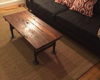 Reclaimed Wood Coffee Table w/ pipe legs
