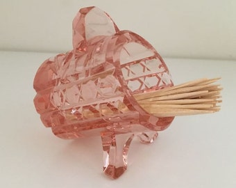 Pink Glass Toothpick Holder