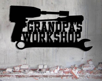 Grandpa's Mechanic's Workshop Sign - Toolbox - Shop Sign - Tool Sign - Custom Metal Sign